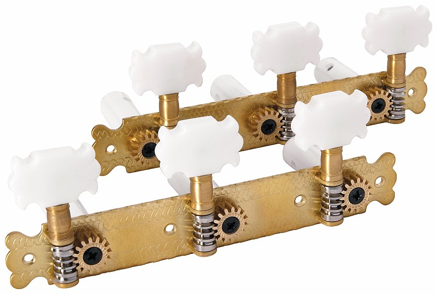 Framus Vintage Parts - Tuners with Plastic Butterfly Knob - Guitar Machine Heads, 3 + 3 - Brass