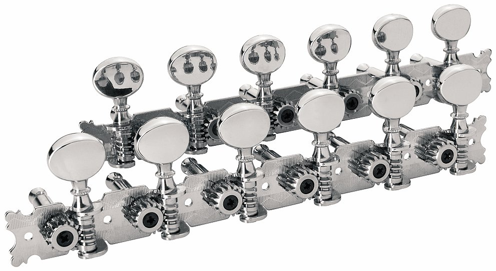 Framus Vintage Parts - Tuners with Oval Nickel Knob - Guitar Machine Heads, 6-in-Line, Bass and Treble Side (Left and Right) - Nickel
