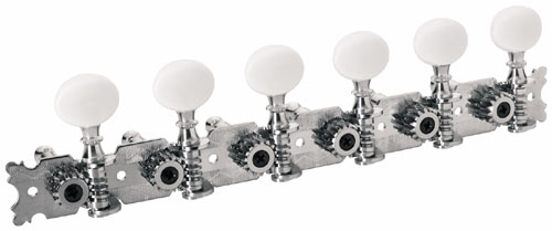 Framus Vintage Parts - Tuners with Oval Plastic Knob - Guitar Machine Heads, 6-in-Line, Treble Side (Right) - Nickel