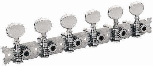 Framus Vintage Parts - Tuners with Oval Nickel Knob - Guitar Machine Heads, 6-in-Line, Bass Side (Left) - Nickel